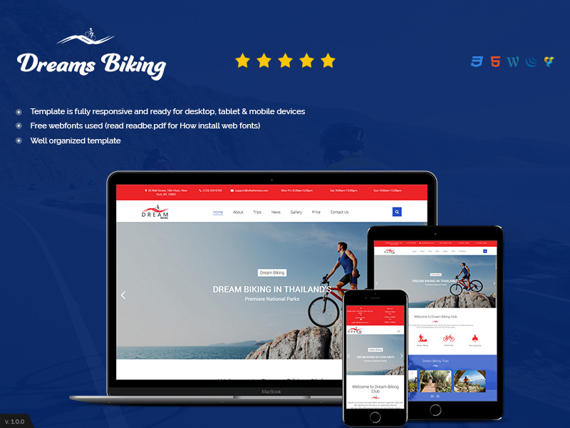 Dream Biking | HTML 5 Mountain Biking Theme theme