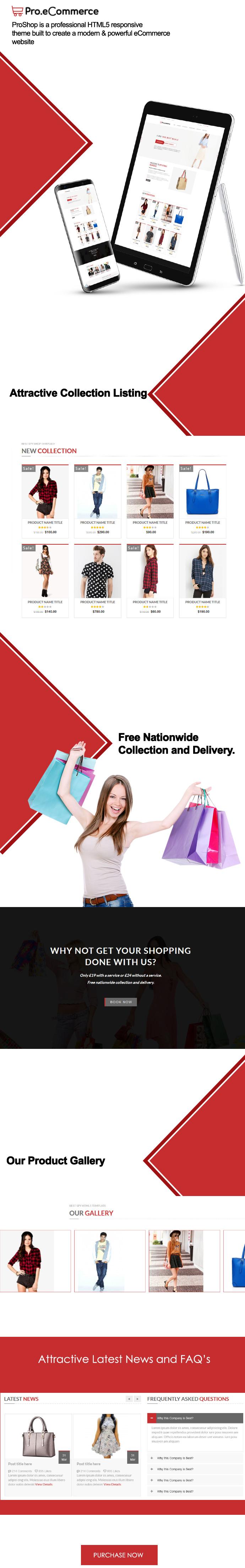 Pro Shop | Single Page e-Commerce HTML Template theme