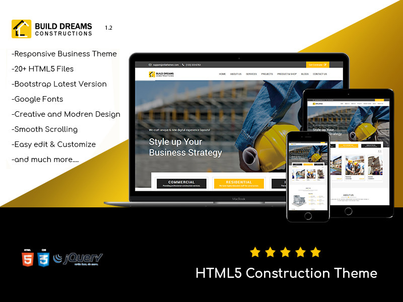 Build Dreams – Construction HTML5 Template theme
