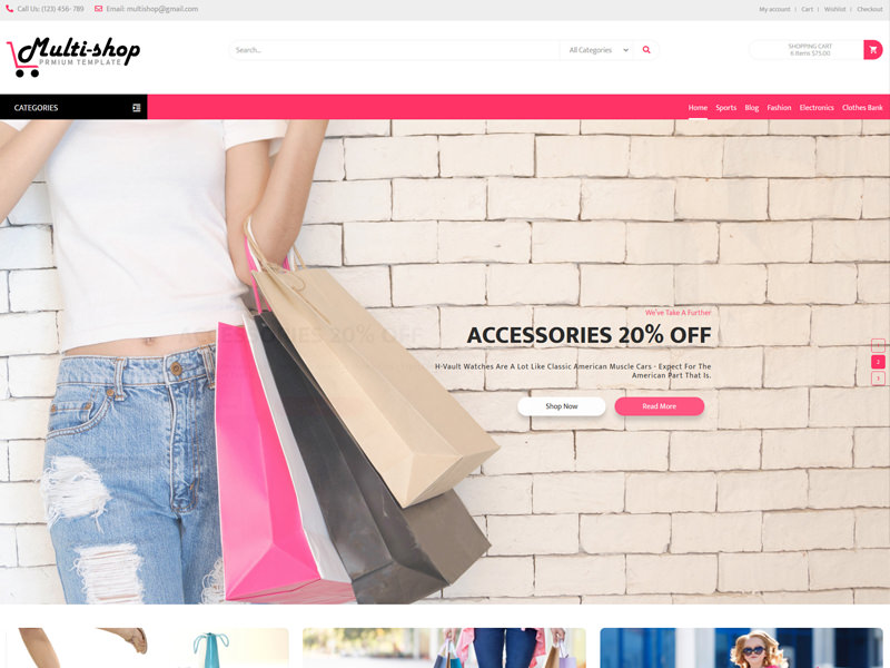 Multi Shop – eCommerce Template theme
