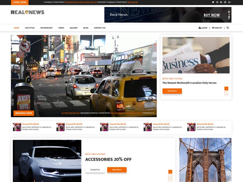 Real News – News & Magazine HTML5 Template theme