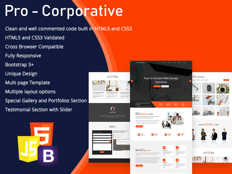 Pro Corporate – HTML5 Business Template theme