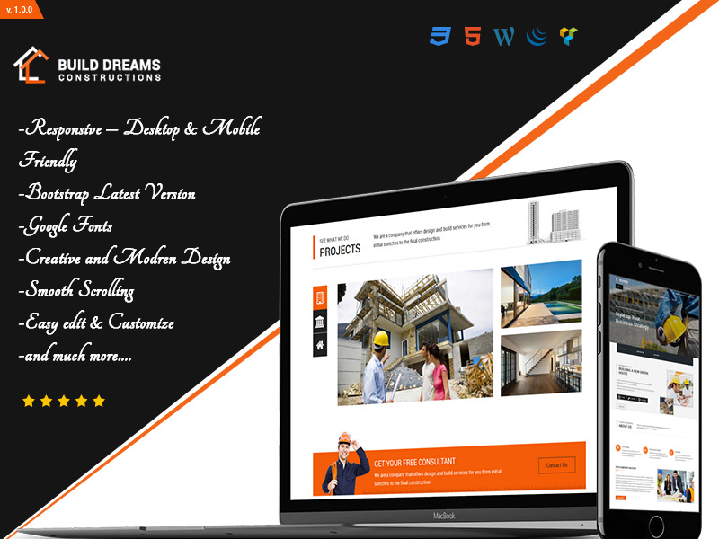 Build Dreams – Construction Single Page HTML5 Template theme