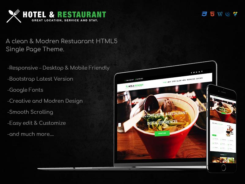 Hotel & Restaurant HTML5 Theme theme