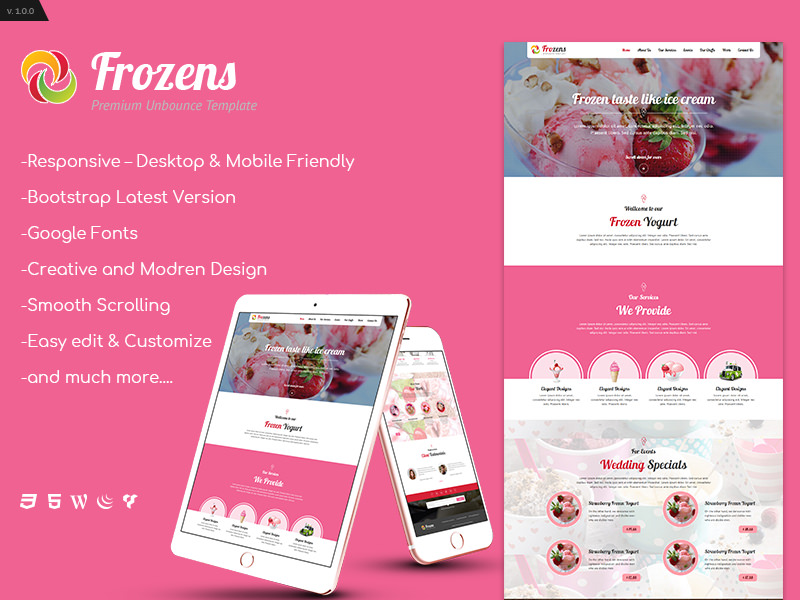 Frozens – Single Page Ice Cream, Cake Shop HTML 5 Free Theme theme