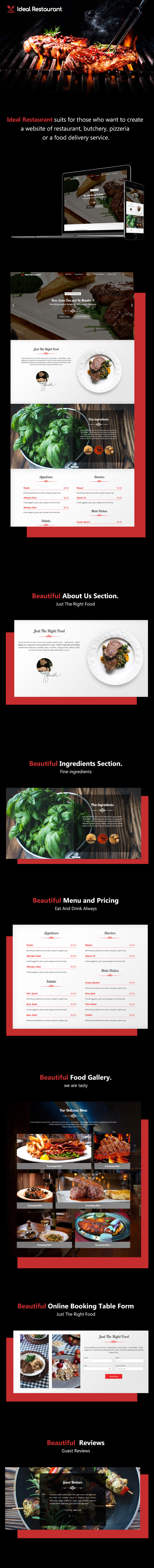 Ideal Restaurant – Single Page Responsive Theme theme
