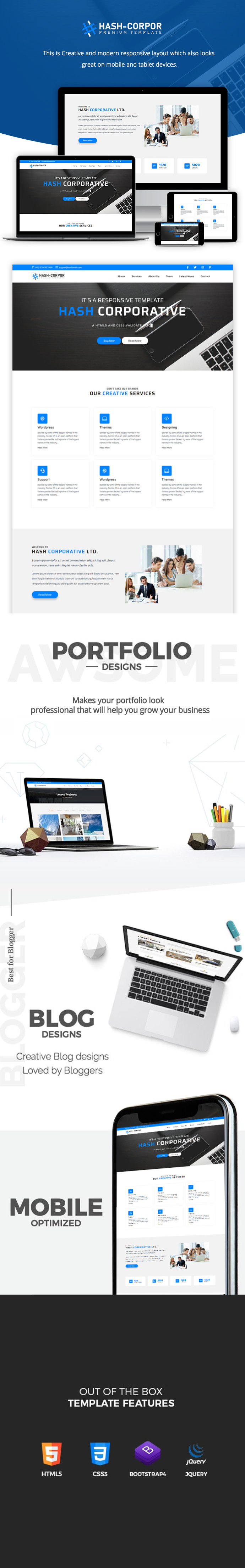 Hash Corporate – HTML5 Business Template theme