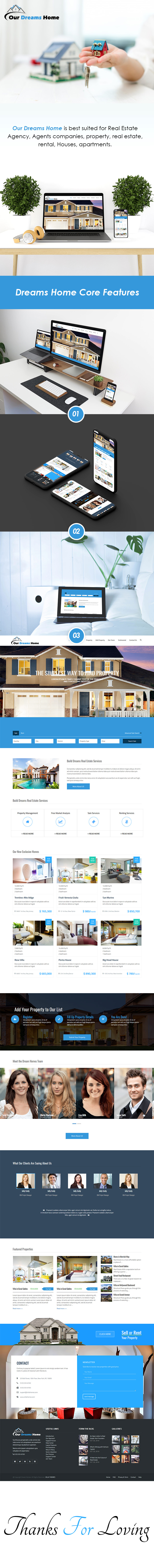 Dreams Home | Single Page Real Estate HTML Template theme