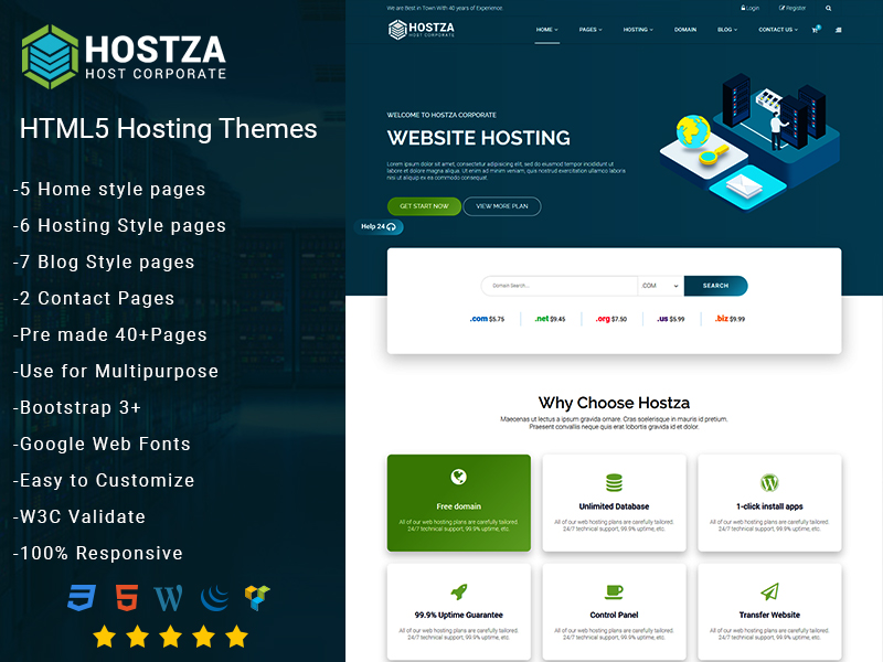 Hostza – Web Hosting HTML5 Theme theme